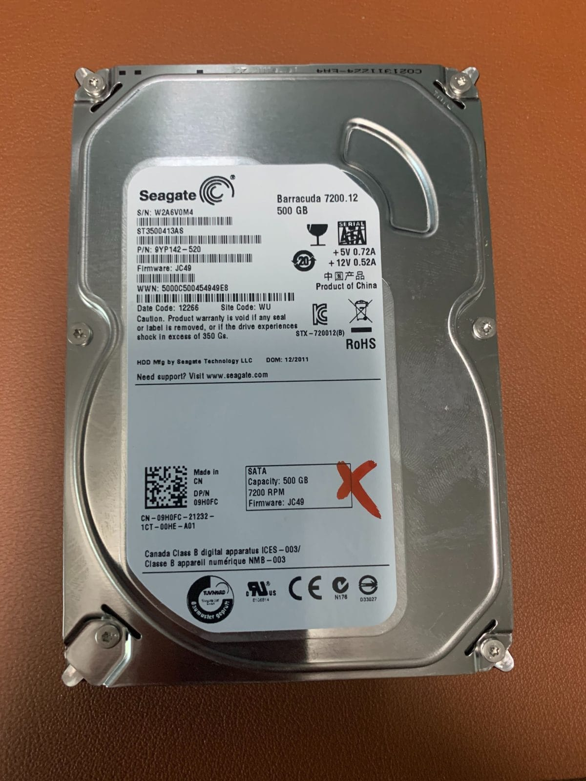 Stuck Heads On A Seagate ST3500413AS