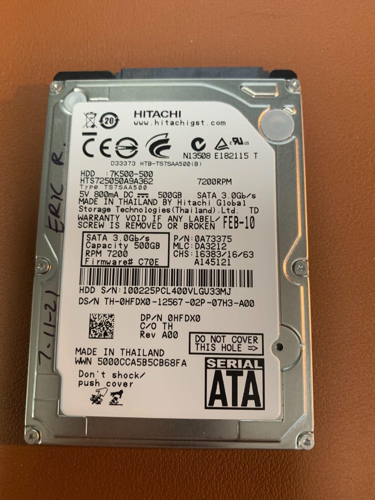 Hitachi HTS725050A9A362 500GB Hard Drive With Bad Head