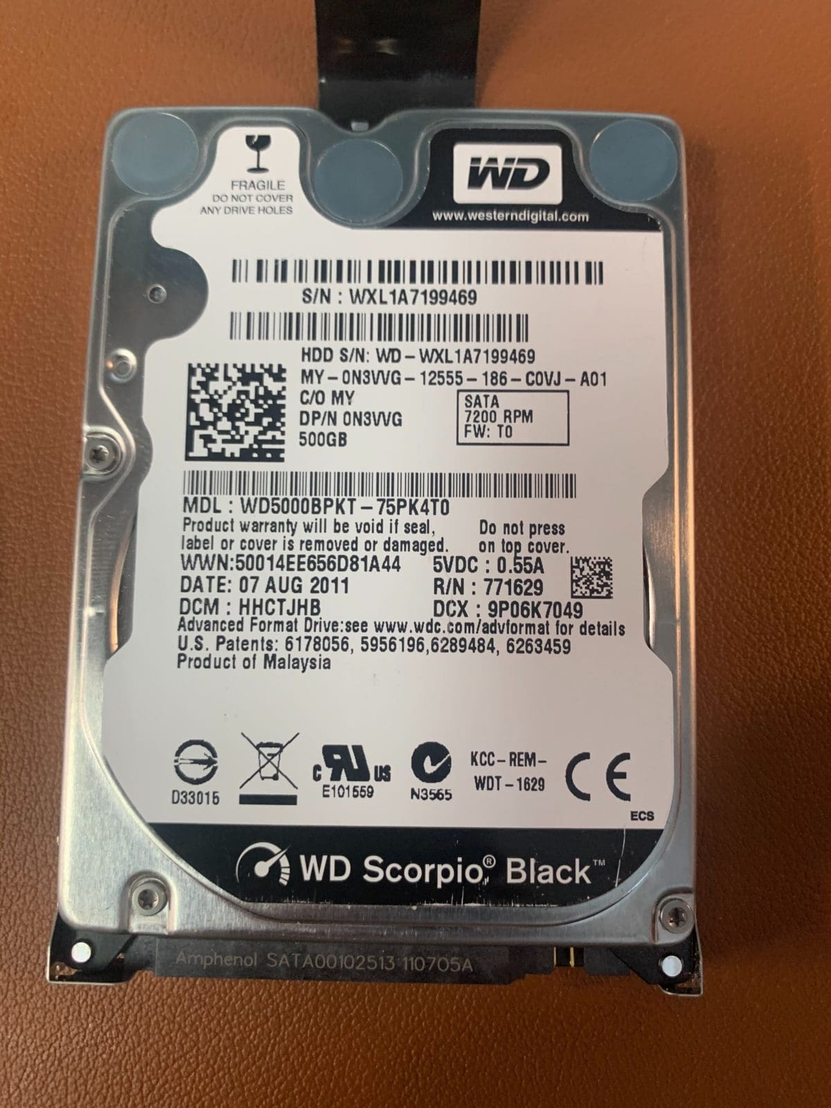 500GB WD5000BPKT Recovery