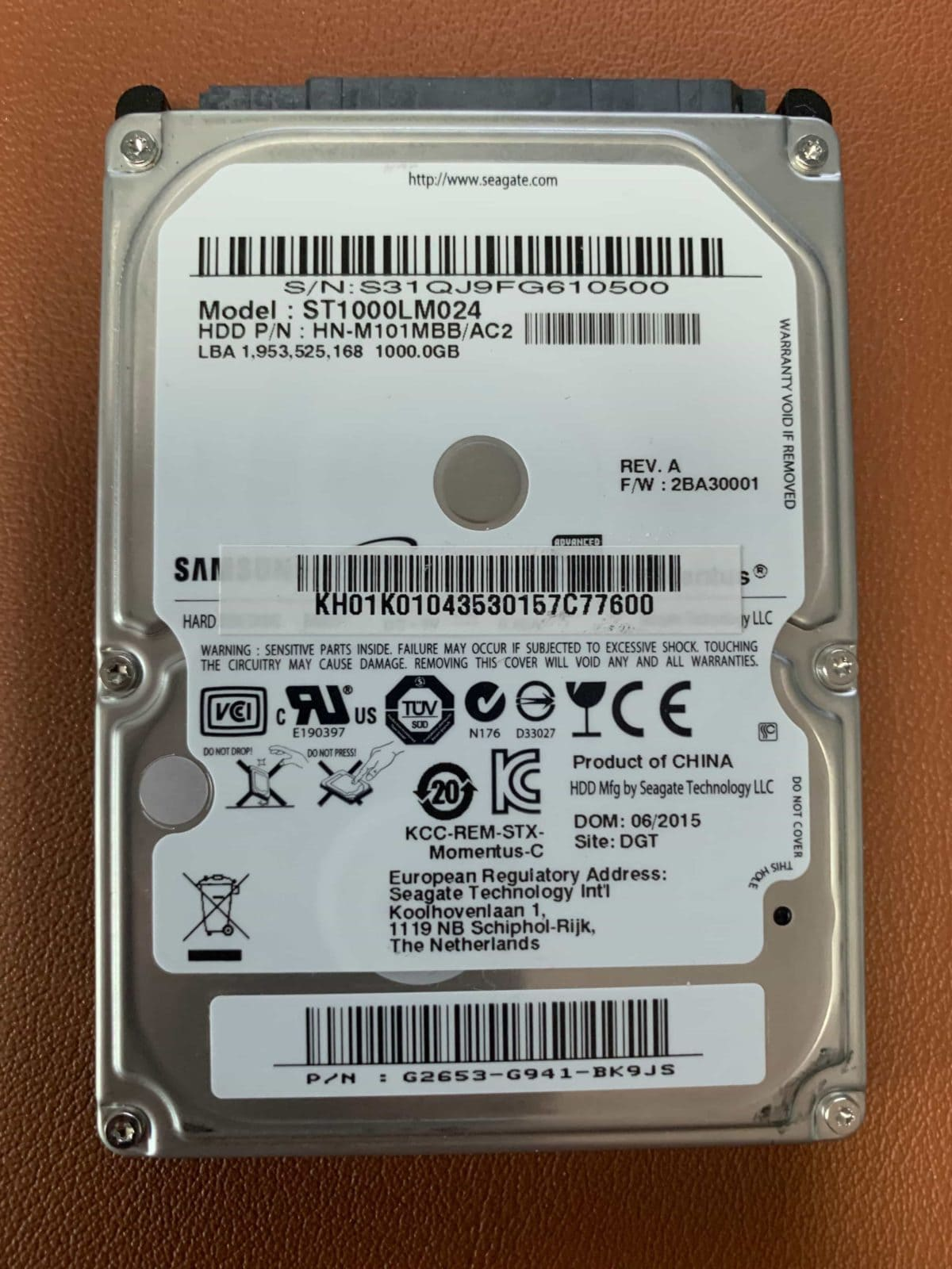 Top of Samsung Laptop Drive